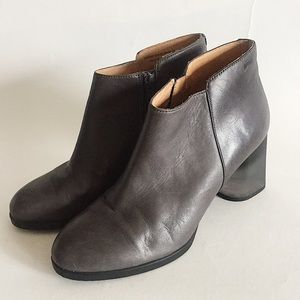 Camper Gray clear block heel Leather Boots booties